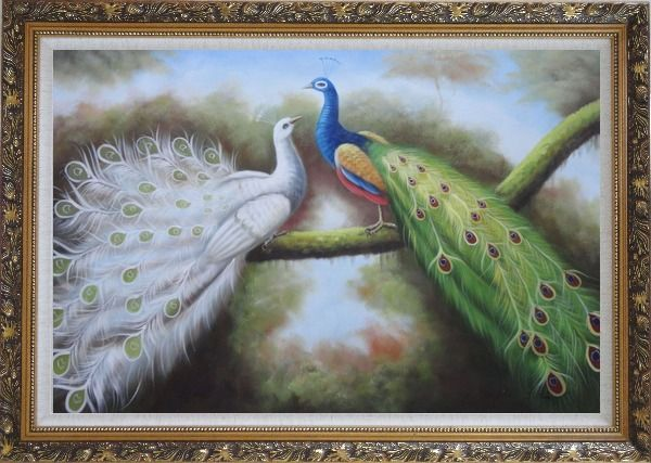 Framed Beautiful Blue and White Peacocks Playing with Each Other Oil Painting Animal Naturalism Ornate Antique Dark Gold Wood Frame 30 x 42 Inches