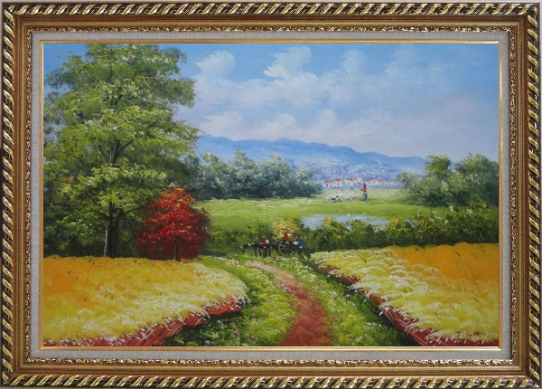 Framed Dirt Road With Horse Carriage Lead to Village Oil Painting Naturalism Exquisite Gold Wood Frame 30 x 42 Inches