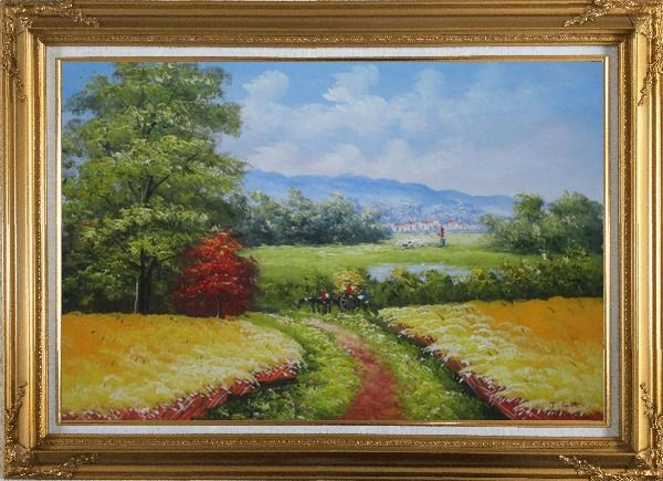 Framed Dirt Road With Horse Carriage Lead to Village Oil Painting Naturalism Gold Wood Frame with Deco Corners 31 x 43 Inches