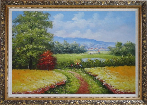 Framed Dirt Road With Horse Carriage Lead to Village Oil Painting Naturalism Ornate Antique Dark Gold Wood Frame 30 x 42 Inches