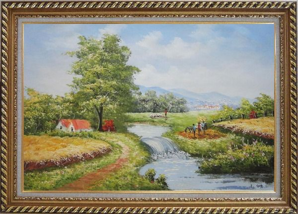 Framed Earth Road and Stream Pass by Cottage With Small Spillway Oil Painting Village Naturalism Exquisite Gold Wood Frame 30 x 42 Inches