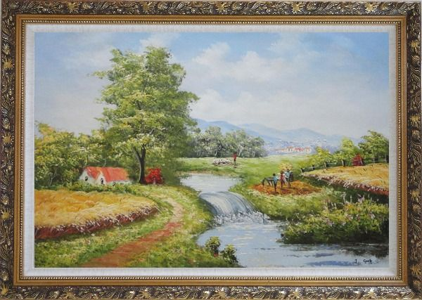 Framed Earth Road and Stream Pass by Cottage With Small Spillway Oil Painting Village Naturalism Ornate Antique Dark Gold Wood Frame 30 x 42 Inches