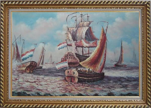 Framed After Battle Oil Painting Boat Impressionism Exquisite Gold Wood Frame 30 x 42 Inches