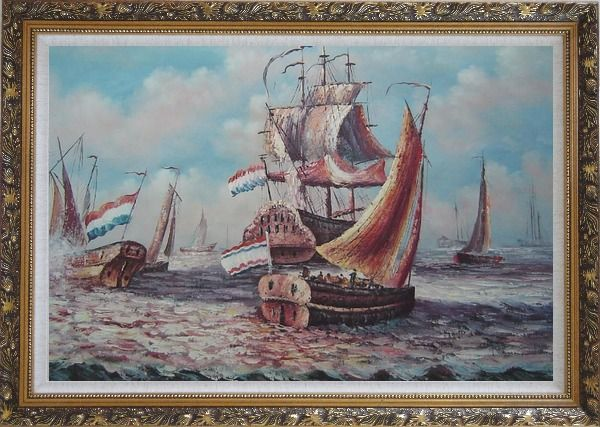 Framed After Battle Oil Painting Boat Impressionism Ornate Antique Dark Gold Wood Frame 30 x 42 Inches