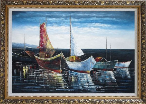 Framed Boats at Harbor Oil Painting Impressionism Ornate Antique Dark Gold Wood Frame 30 x 42 Inches
