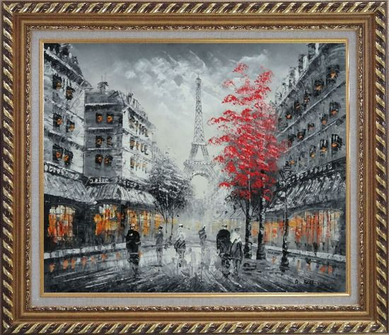 Framed Romantic Evening Under Eiffel Tower, Paris Oil Painting Black White Cityscape France Impressionism Exquisite Gold Wood Frame 26 x 30 Inches