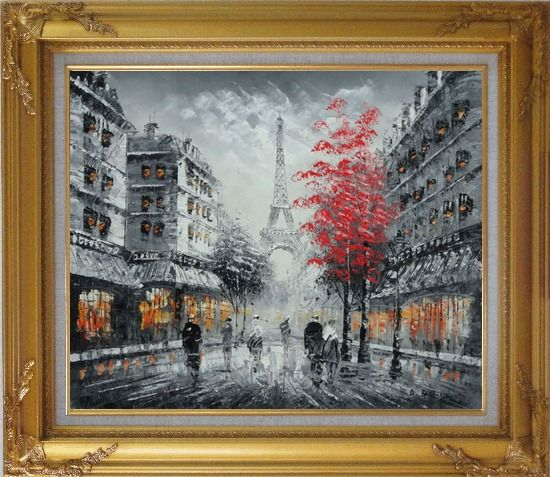 Framed Romantic Evening Under Eiffel Tower, Paris Oil Painting Black White Cityscape France Impressionism Gold Wood Frame with Deco Corners 27 x 31 Inches