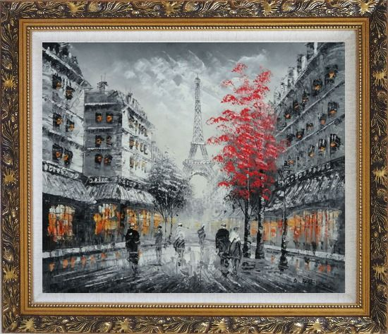 Framed Romantic Evening Under Eiffel Tower, Paris Oil Painting Black White Cityscape France Impressionism Ornate Antique Dark Gold Wood Frame 26 x 30 Inches