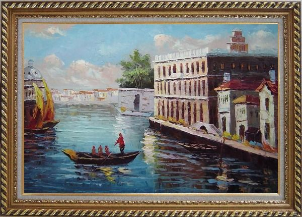 Framed Romance of Venice Oil Painting Italy Naturalism Exquisite Gold Wood Frame 30 x 42 Inches