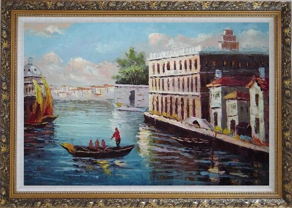 Framed Romance of Venice Oil Painting Italy Naturalism Ornate Antique Dark Gold Wood Frame 30 x 42 Inches