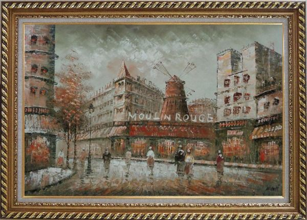 Framed The Moulin Rouge Cabaret at Dusk Oil Painting Cityscape France Impressionism Exquisite Gold Wood Frame 30 x 42 Inches