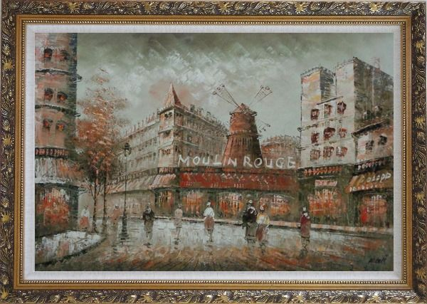 Framed The Moulin Rouge Cabaret at Dusk Oil Painting Cityscape France Impressionism Ornate Antique Dark Gold Wood Frame 30 x 42 Inches