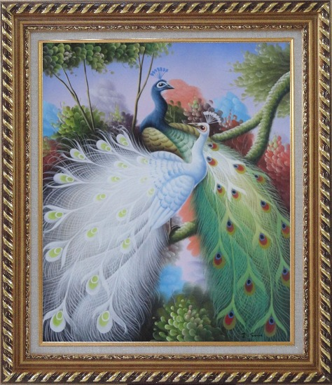 Framed Beautiful Blue and White Peacocks On Tree Oil Painting Animal Naturalism Exquisite Gold Wood Frame 30 x 26 Inches