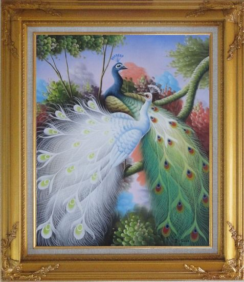 Framed Beautiful Blue and White Peacocks On Tree Oil Painting Animal Naturalism Gold Wood Frame with Deco Corners 31 x 27 Inches