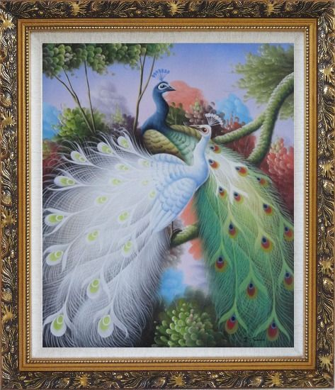 Framed Beautiful Blue and White Peacocks On Tree Oil Painting Animal Naturalism Ornate Antique Dark Gold Wood Frame 30 x 26 Inches