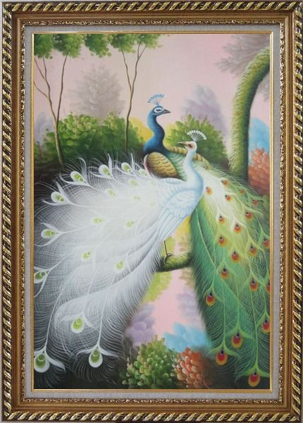 Framed Beautiful Blue and White Peacocks On Tree Oil Painting Animal Naturalism Exquisite Gold Wood Frame 42 x 30 Inches