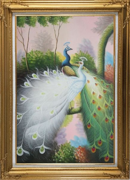 Framed Beautiful Blue and White Peacocks On Tree Oil Painting Animal Naturalism Gold Wood Frame with Deco Corners 43 x 31 Inches
