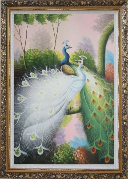 Framed Beautiful Blue and White Peacocks On Tree Oil Painting Animal Naturalism Ornate Antique Dark Gold Wood Frame 42 x 30 Inches
