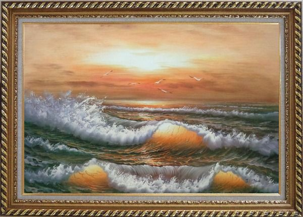 Framed Waves Hit Rocks On Seashore in Sunset Glow Oil Painting Seascape Naturalism Exquisite Gold Wood Frame 30 x 42 Inches