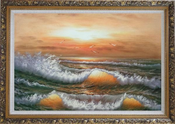 Framed Waves Hit Rocks On Seashore in Sunset Glow Oil Painting Seascape Naturalism Ornate Antique Dark Gold Wood Frame 30 x 42 Inches