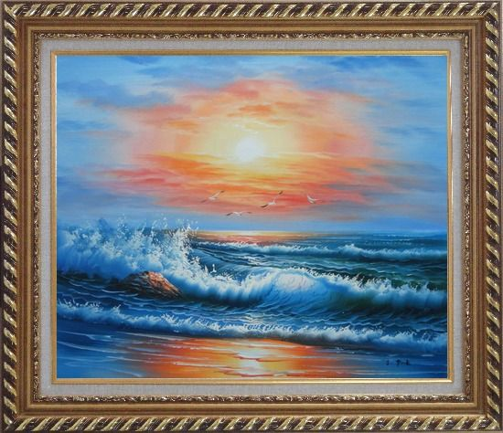 Framed Beautiful View of the Ocean from the Shore in New Dawn Oil Painting Seascape Naturalism Exquisite Gold Wood Frame 26 x 30 Inches