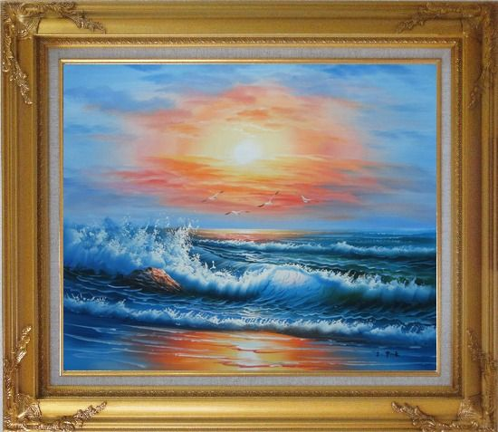 Framed Beautiful View of the Ocean from the Shore in New Dawn Oil Painting Seascape Naturalism Gold Wood Frame with Deco Corners 27 x 31 Inches