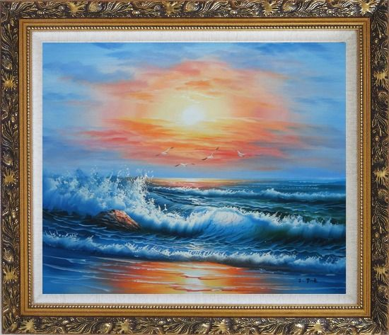 Framed Beautiful View of the Ocean from the Shore in New Dawn Oil Painting Seascape Naturalism Ornate Antique Dark Gold Wood Frame 26 x 30 Inches
