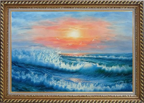 Framed Beautiful View of the Ocean from the Shore in New Dawn Oil Painting Seascape Naturalism Exquisite Gold Wood Frame 30 x 42 Inches
