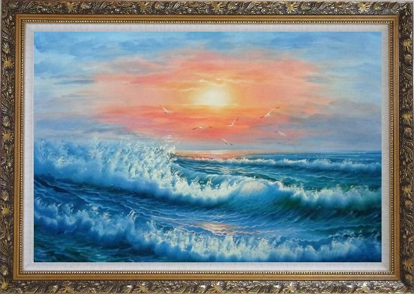 Framed Beautiful View of the Ocean from the Shore in New Dawn Oil Painting Seascape Naturalism Ornate Antique Dark Gold Wood Frame 30 x 42 Inches