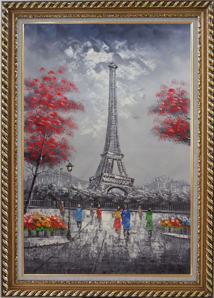 Framed Eiffel Tower, Paris Romance Oil Painting Cityscape France Impressionism Exquisite Gold Wood Frame 42 x 30 Inches