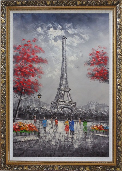 Framed Eiffel Tower, Paris Romance Oil Painting Cityscape France Impressionism Ornate Antique Dark Gold Wood Frame 42 x 30 Inches