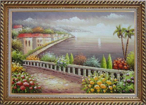 Framed Mediterranean Coastline with Flower Garden Oil Painting Naturalism Exquisite Gold Wood Frame 30 x 42 Inches