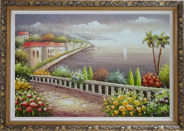 Framed Mediterranean Coastline with Flower Garden Oil Painting Naturalism Ornate Antique Dark Gold Wood Frame 30 x 42 Inches
