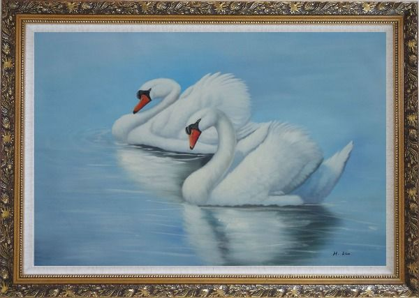 Framed Two Lovely White Swans in Lake Oil Painting Animal Naturalism Ornate Antique Dark Gold Wood Frame 30 x 42 Inches