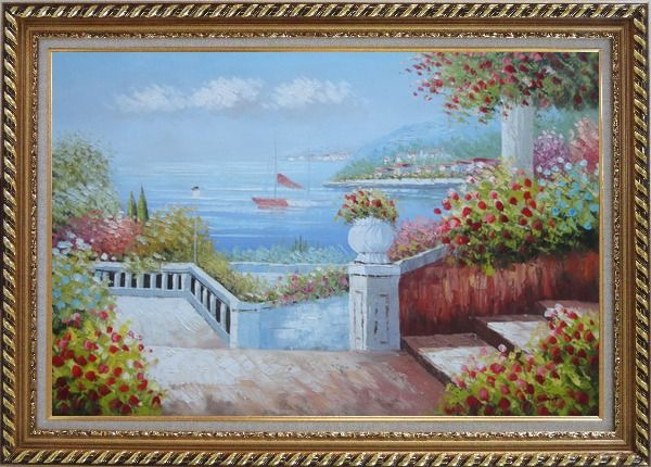 Framed Gorgeous Italy Seashore Garden Patio Oil Painting Mediterranean Naturalism Exquisite Gold Wood Frame 30 x 42 Inches