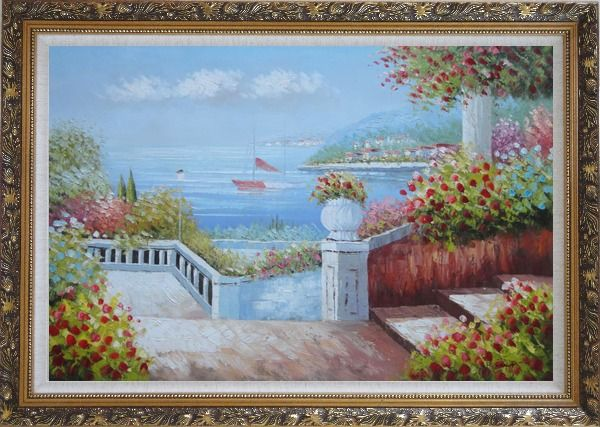 Framed Gorgeous Italy Seashore Garden Patio Oil Painting Mediterranean Naturalism Ornate Antique Dark Gold Wood Frame 30 x 42 Inches