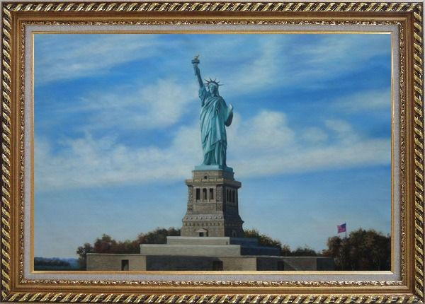 Framed Statue of Liberty, New York Oil Painting Portraits Celebrity America Naturalism Exquisite Gold Wood Frame 30 x 42 Inches
