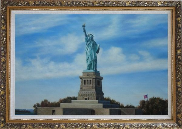Framed Statue of Liberty, New York Oil Painting Portraits Celebrity America Naturalism Ornate Antique Dark Gold Wood Frame 30 x 42 Inches