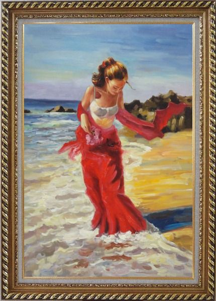Framed Girl With Long Red Skirt Enjoy Herself in Beach Water Oil Painting Portraits Woman Impressionism Exquisite Gold Wood Frame 42 x 30 Inches