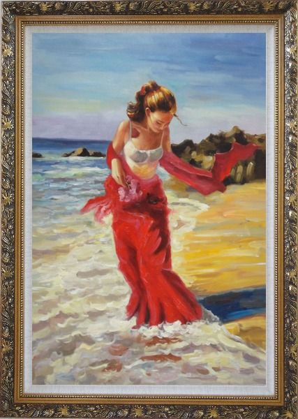 Framed Girl With Long Red Skirt Enjoy Herself in Beach Water Oil Painting Portraits Woman Impressionism Ornate Antique Dark Gold Wood Frame 42 x 30 Inches
