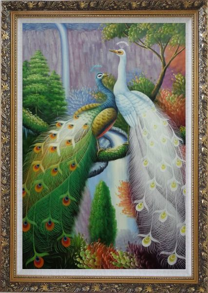 Framed Blue and White Peacocks with Tree And Waterfall Oil Painting Animal Naturalism Ornate Antique Dark Gold Wood Frame 42 x 30 Inches