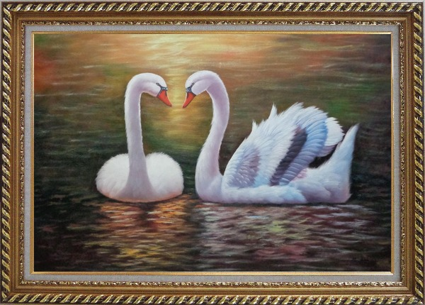 Framed Pair Of Beautiful Swans Enjoying Their Time On Lake Oil Painting Animal Naturalism Exquisite Gold Wood Frame 30 x 42 Inches