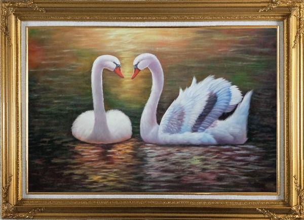 Framed Pair Of Beautiful Swans Enjoying Their Time On Lake Oil Painting Animal Naturalism Gold Wood Frame with Deco Corners 31 x 43 Inches