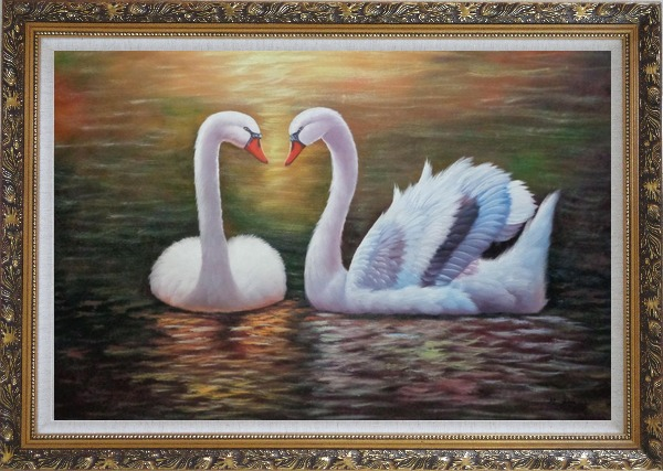 Framed Pair Of Beautiful Swans Enjoying Their Time On Lake Oil Painting Animal Naturalism Ornate Antique Dark Gold Wood Frame 30 x 42 Inches