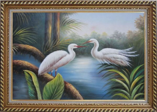 Framed Pair of Great White Egrets Pond Oil Painting Animal Bird Heron Naturalism Exquisite Gold Wood Frame 30 x 42 Inches