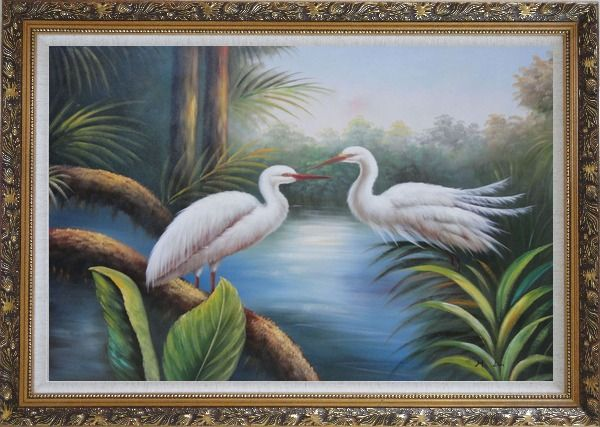 Framed Pair of Great White Egrets Pond Oil Painting Animal Bird Heron Naturalism Ornate Antique Dark Gold Wood Frame 30 x 42 Inches