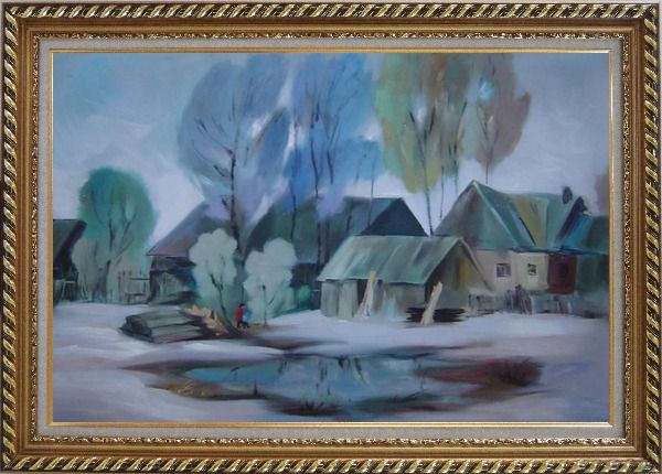 Framed A Remote Hamlet Oil Painting Village Impressionism Exquisite Gold Wood Frame 30 x 42 Inches