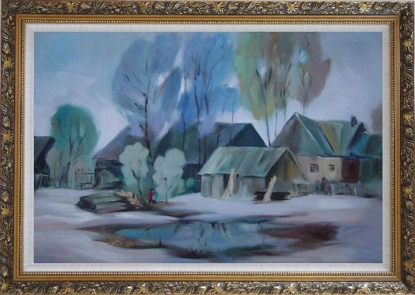 Framed A Remote Hamlet Oil Painting Village Impressionism Ornate Antique Dark Gold Wood Frame 30 x 42 Inches