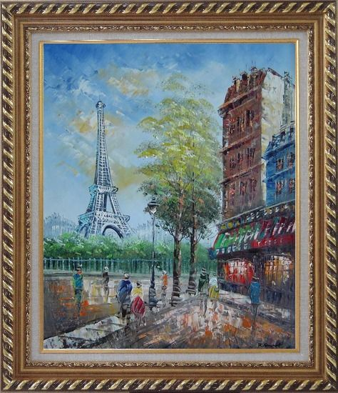 Framed Dreaming of Paris Oil Painting Cityscape France Impressionism Exquisite Gold Wood Frame 30 x 26 Inches