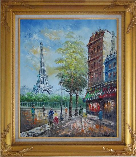 Framed Dreaming of Paris Oil Painting Cityscape France Impressionism Gold Wood Frame with Deco Corners 31 x 27 Inches